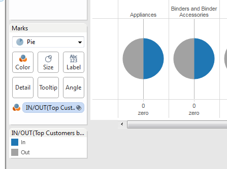Creating a donut chart in tableau arunkumar navaneethan make top customers by profit sets as color mark and select pie chart under the drop down ccuart Images