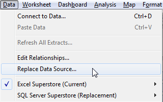 Replace data source in Tableau - Arunkumar Navaneethan